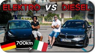 Roadtrip Nach Rimini: Tesla Model 3 vs Diesel 3er BMW