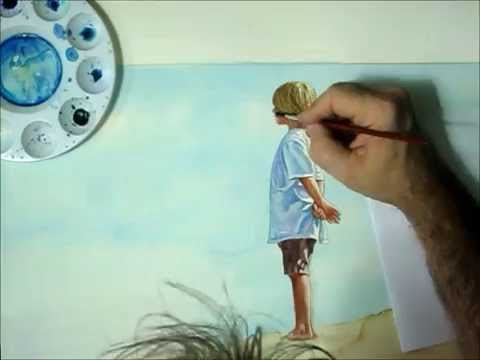FREE Lesson. How to Paint in Watercolor of a Child or Kid by the Lake, time-lapse by C. Shellhammer