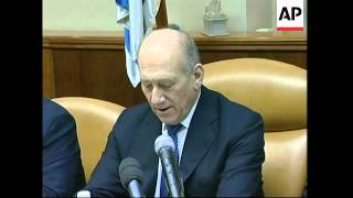 Olmert comments on police probe plus Israeli cabinet meeting