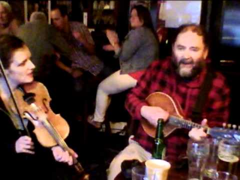 Noel Lenaghan with Ted Ponsonby and Denise Boyle at the trad session in Aidy's Bar, Letterkenny
