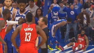 James Harden Wanna Fight Joel Embiid Then Embiid Shuts Him Up With Block! Rockets vs Sixers