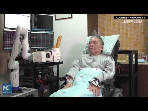 Elderly Chinese man mind-controls robotic arm in Zhejiang, China