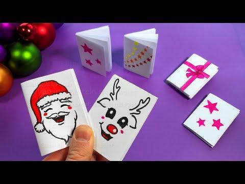Basteln Weihnachten 🎅 DIY Mini Notizbuch basteln mit Papier. Weihnachtsgeschenke selber machen 2018