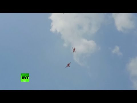 Moment Indian Air Force jets collide mid-air during practice