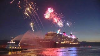 Disney Fantasy cruise ship arrives at Port Canaveral, Florida with fireworks and characters
