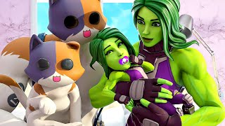 SHE-HULK & MEOWSCLES HAVE A BABY.... ( Fortnite Short )