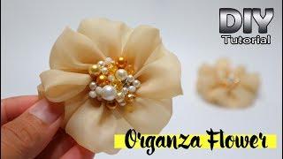 DIY - Tutorial Organza Fabric Flower | Simple For Beginners | Bunga Serut Dari Kain Kaca