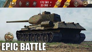 АХИРЕНСКИ ГРАМОТНЫЙ БОЙ!!! 🌟🌟🌟 Т-34-85М World of Tanks лучший бой wot