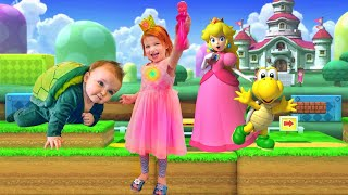PRINCESS PEACH pretend play with Mystery Guest baby brother