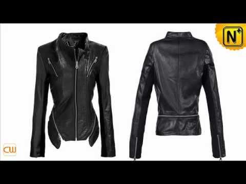 negro chaqueta de cuero para las mujeres CW618133 www.cwmalls.com
