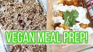 Vegan + Plant-Based Meal Prep! // Veggie Enchiladas, Chickpea Salad, Hummus + Fruit