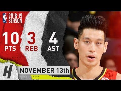 Jeremy Lin Full Highlights Hawks vs Warriors 2018.11.13 - 10 Pts, 4 Ast, 3 Rebounds!