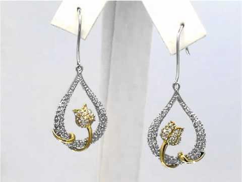 14K Women's Yellow and White Gold Diamond Rose and Pear Pav'E earrings 1 CT