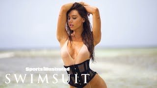 Alexis Ren Sports a Sexy Corsett on the Beach | Sports Illustrated Swimsuit