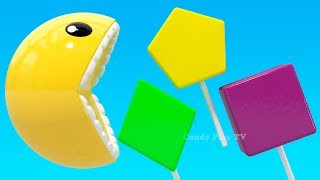 Learning Colors with 3D Pacman Lollipop Geometric Shapes for Kids Children Toddlers | Colours Pacman