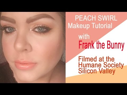 Peach Swirl makeup tutorial with Frank the Bunny