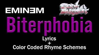 Eminem - Biterphobia - [Lyric Video & Colored Rhyme Scheme]