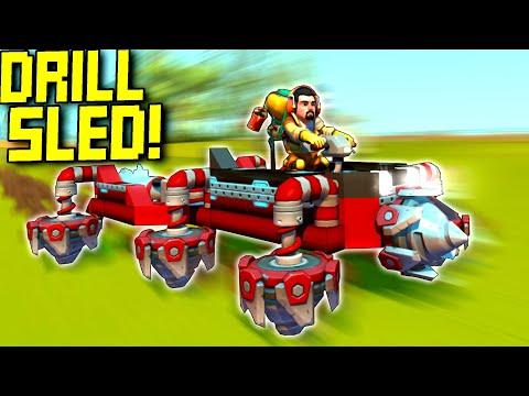 Rocket-Powered Drill Sled Race!  - Scrap Mechanic Multiplayer Monday