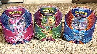 Leafeon  - (Pokémon) - OPENING ALL 3 NEW POKEMON CARDS TINS! *Sylveon Leafeon Glaceon*