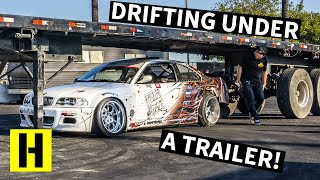 BMW Tandem Drifting Battle UNDER a Trailer! We Finally Raised it Up