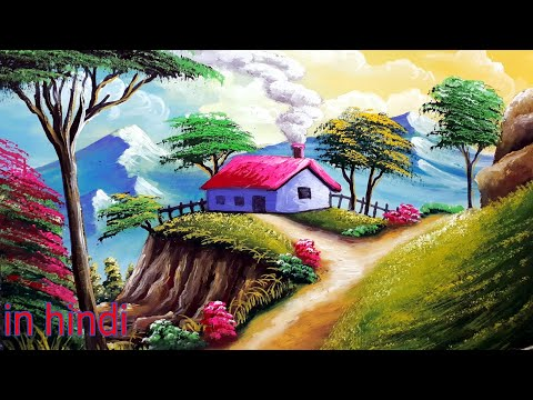 watercolor painting beautiful village by biswanath