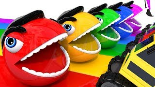 Learn Colors PACMAN and Hulk Friend Excavator Street Vehicle Colours Magic Liquids for Kid