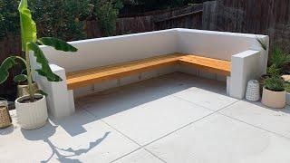 DIY Floating Concrete Garden Bench Seating