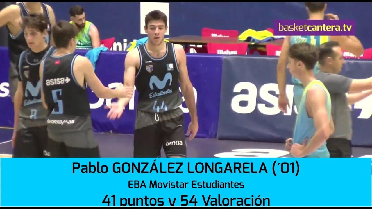 54 de Valoración 41 puntos: PABLO GONZÁLEZ LONGARELA (´01) 1.90. EBA Estudiantes. (BasketCantera.TV)