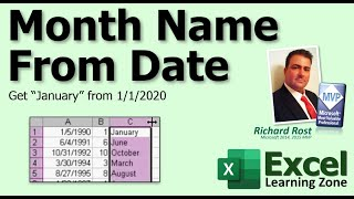 """Microsoft Excel: Get Month Name From Date (i.e. """"January"""")"""