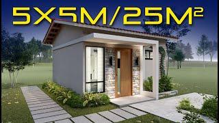 🏡 Plano de Casa 5x5 / Casa Económica / diseño de casa pequeñas y bonita 😍