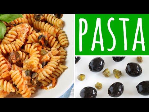 Pasta mit Tomatensoße, Oliven, Kapern & Mozzarella - Pasta Rezept (vegetarisch)
