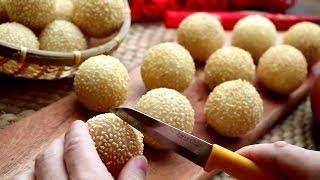 How To Make Super Crispy Sesame Balls   Street Food At Home   Sesame Seed Balls Recipe 煎堆 芝麻球 賀年小食