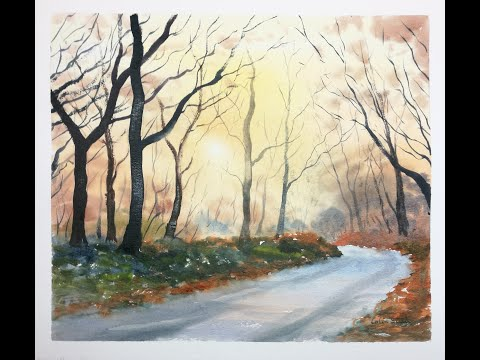 Thumbnail of 'Just Before Sunset, Galleywood'. (watercolour demonstration)