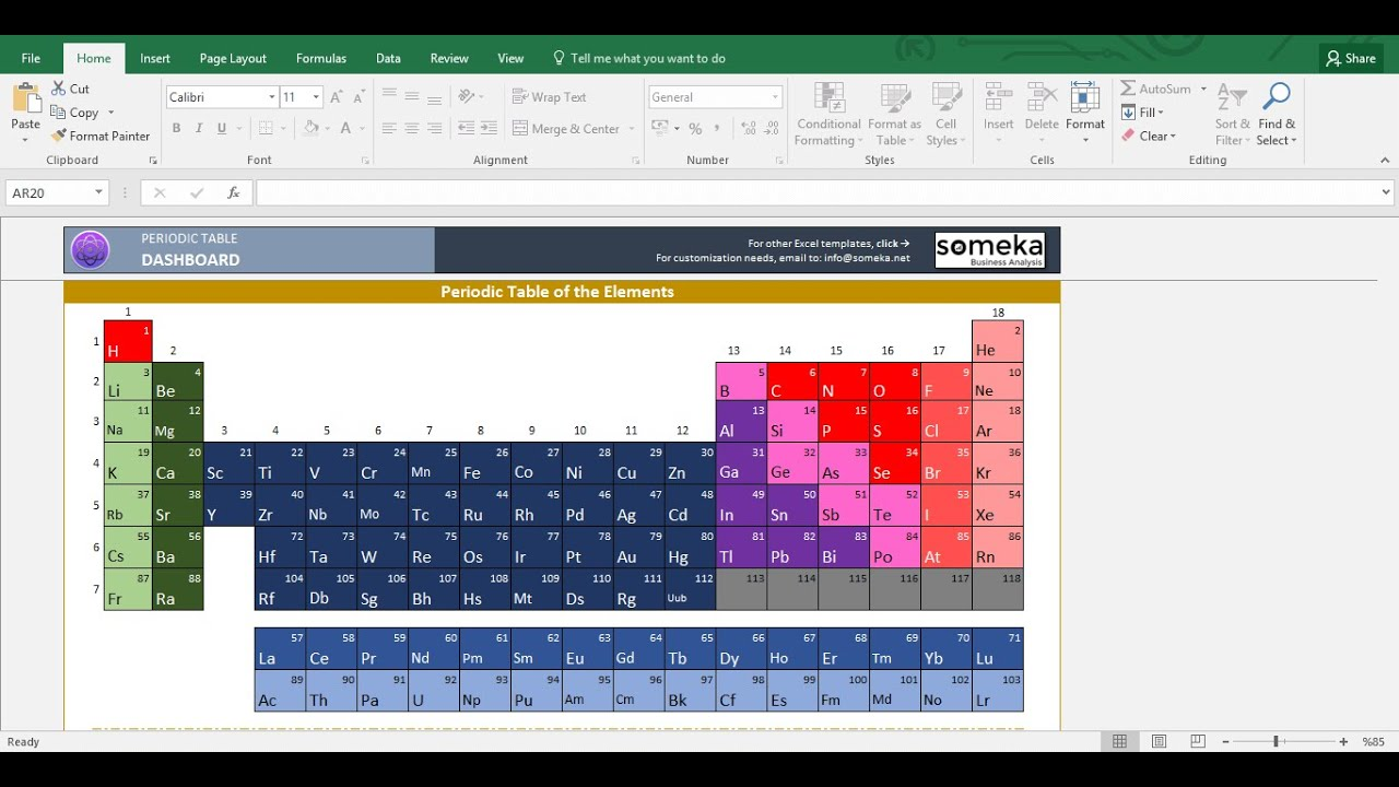 Periodic Table Worksheet - Someka Excel Template Video