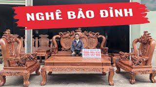 Bộ Bàn Ghế Nghê Bảo Đỉnh Gỗ Hương Đá Mẫu Mới (VIP)