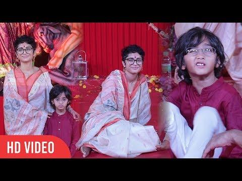 Aamir Khan Wife with Son at Biggest Durga Puja 2018 | Kiran Rao, Azad Rao Khan