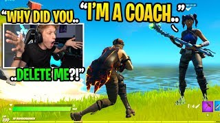 I met a FORTNITE COACH in duos fill and he DELETED me because of THIS... (I confronted him)