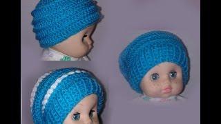 Смотреть онлайн Вязание шапочки для ребенка крючком