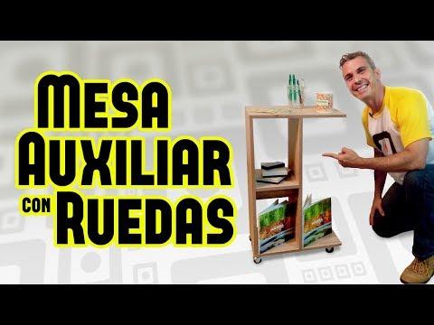Mesa de melamina con ruedas / mesa auxiliar / DIY