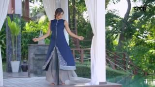 Soch Kurti Suits | Navy Blue And Grey Cotton Jacquard Kurti Suit - SAMY KS 60004