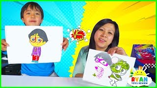 3 Marker Challenge with Ryan vs Mommy!!!