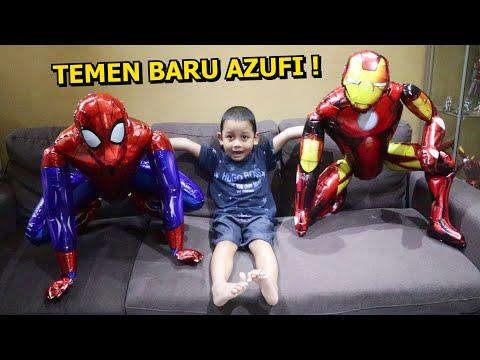 Azufi Punya Teman Baru Balon Superhero Besar Karakter Ironman Dan Spiderman