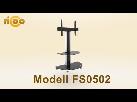 RICOO® | FS0502 | TV Stand modern und schwenkbar mit Glas-Ablagen | Fernseher Rack