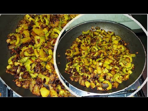 Karela Aur Aloo Fry l कारलं फ्राय l Indian Breakfast Recipe l Mrs.Norien