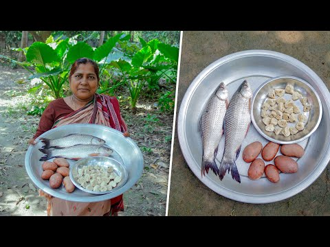 Carp Fish, Bori & Potato Cooking Recipes by Village Food Life