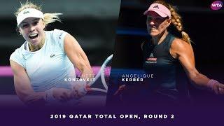 Anett Kontaveit Vs. Angelique Kerber  | 2019 Qatar Total Open Second Round | WTA Highlights