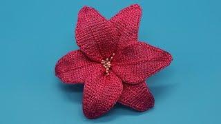 Лилия крючком. Цветок крючком. Тунисское вязание. (Lily crochet.Flower Crochet. Tunisian knitting)