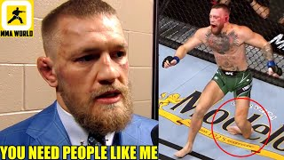 Conor McGregor reacts to his UFC 264 loss to Dustin Poirier after breaking his leg,Sean O'Malley