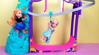Indoor Play Place ! Elsa and Anna toddlers - zip line - foam pit - Barbie - playdate