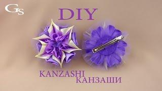 Ленты + Фатин + Желание = Изящная красивая заколка Канзаши / Рукоделие / МК / DIY / Handmade